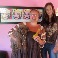 Accent coach Robyn Scott (with dog Benjamin) and actor Katja Hopkins