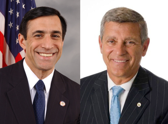 Republican Darrell Issa (R-Vista), at left, and his challenger, Democrat Doug Applegate.