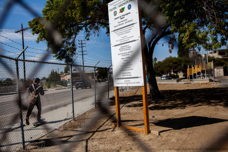 A former Department of Water and Power yard at the North Hollywood intersection of Fulton St. and Vanowen Ave. is being converted into a new pocket park as part of the city's