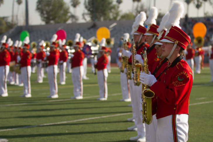 Members of the Tournament of Roses Honor Band on the field Friday afternoon at Pasadena City College.
