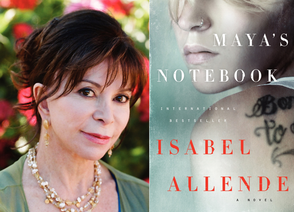 Author Isabel Allende and the cover of her novel