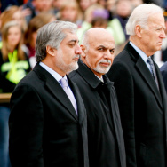 Afghanistan's Chief Executive Officer Abdullah Abdullah (left) stands with President Ashraf Ghani, Vice President Joe Bidden, Defense Secretary Ash Carter and Maj. Gen. Jeffrey Buchanan at a wreath-laying ceremony at the Tomb of the Unknowns on Tuesday.
