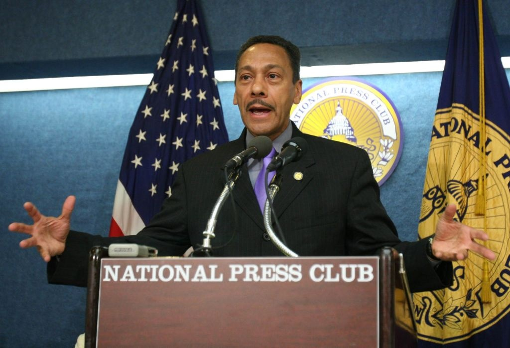 Democrat Congressman of North Carolina Mel Watt is also Congressional Black Caucus (CBC) Chairman Representative. He speaks on immigration, the Iraq War and other issues during a news conference at the National Press Club in Washington, Tuesday, Sept. 5, 2006. He was elected to represent North Carolina's 12th district in January of 1993.