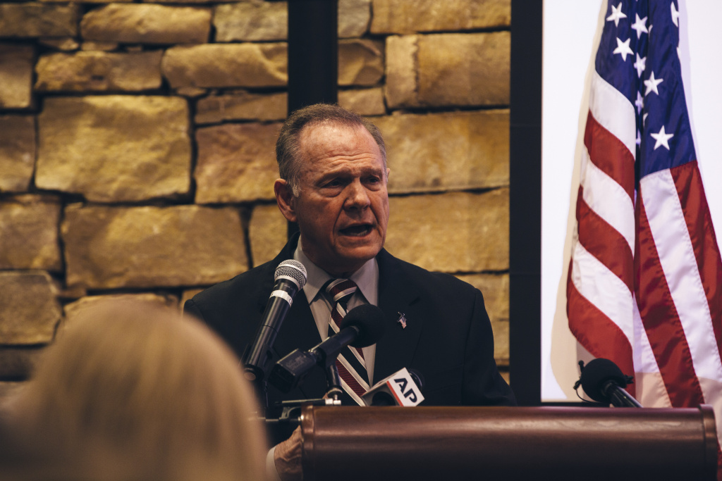 Republican candidate for U.S. Senate Judge Roy Moore speaks during a mid-Alabama Republican Club's Veterans Day event on November 11, 2017 in Vestavia Hills, Alabama. On Sunday, Moore said allegations that he was involved with a minor are