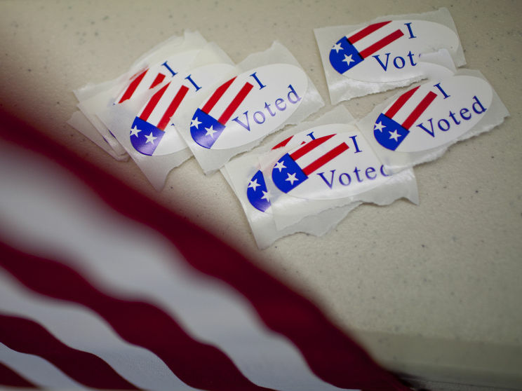 Stickers at a Nevada polling place on Election Day 2010.