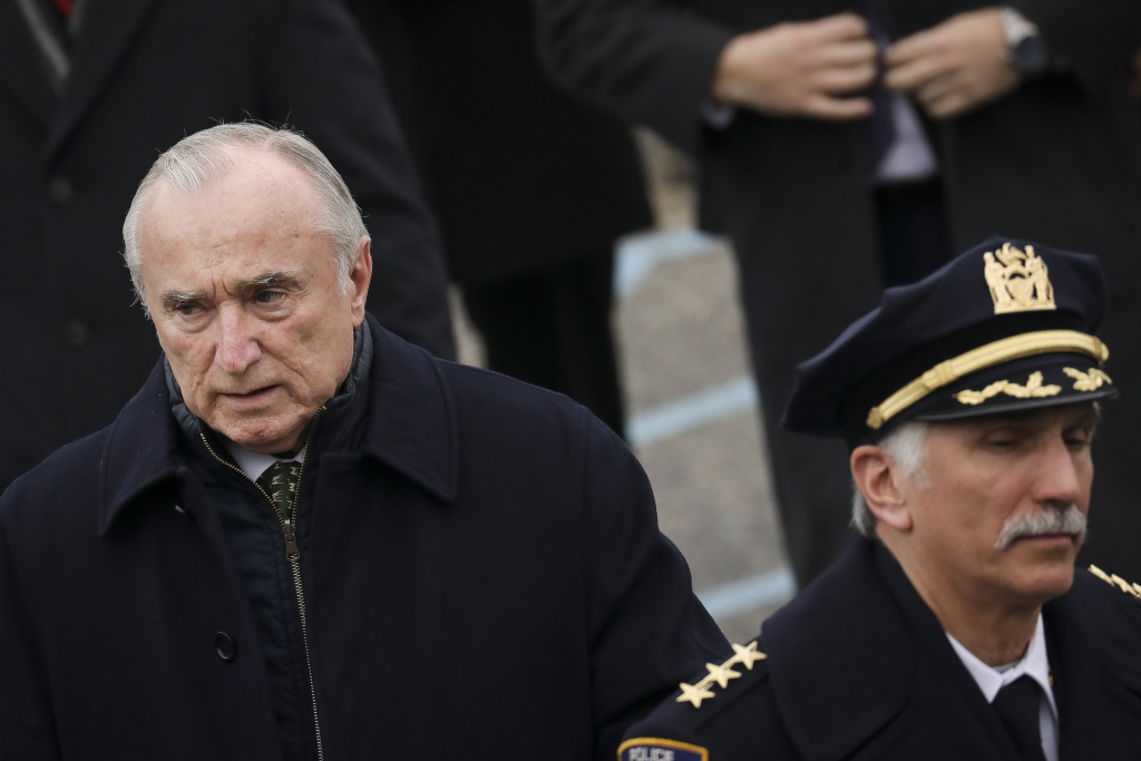 Former New York City Police Commissioner William 'Bill' Bratton exits the church following the funeral service of fallen NYPD Detective Brian Simonsen at the Church of St. Rosalie, February 20, 2019 in Hampton Bays, New York.