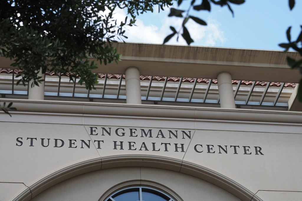 The entrance to the Engemann Student Health Center on the campus of the University of Southern California (USC) is seen in Los Angeles, California on May 17, 2018.