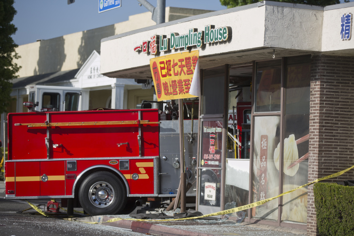 Two fire trucks collided, sending one into Lu's Dumpling House at Garfield and Emerson Avenues in Monterey Park on Wednesday afternoon, April 16.