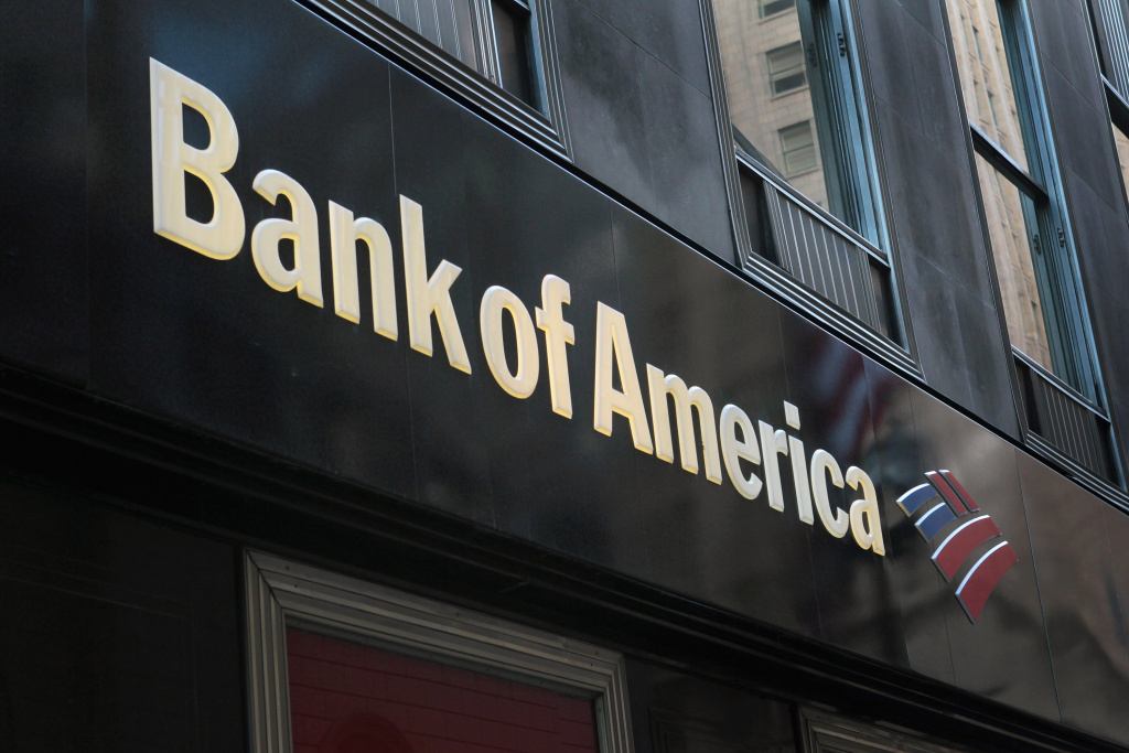 File photo: A sign hangs above a Bank of America branch in the Financial District on November 1, 2011 in Chicago, Illinois.