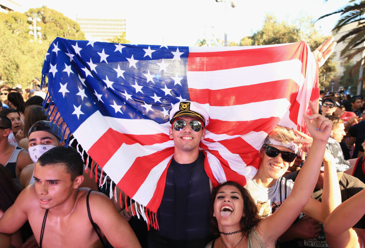 Music fans attend day 2 of the 2014 Budweiser Made in America Festival at Los Angeles Grand Park on August 31, 2014 in Los Angeles, California.