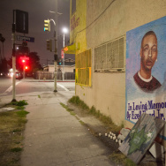 A memorial for Ezell Ford Jr. on the corner of 65th and Broadway streets in Los Angeles, Calif. photographed on Tuesday, May 12, 2015.