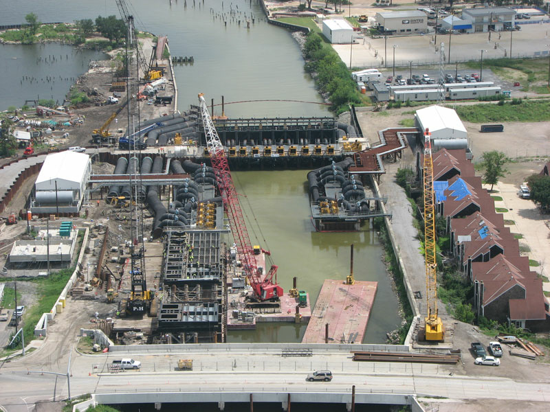 Aerial view of 17th Street outfall canal, interim closure structure, from July 2007.