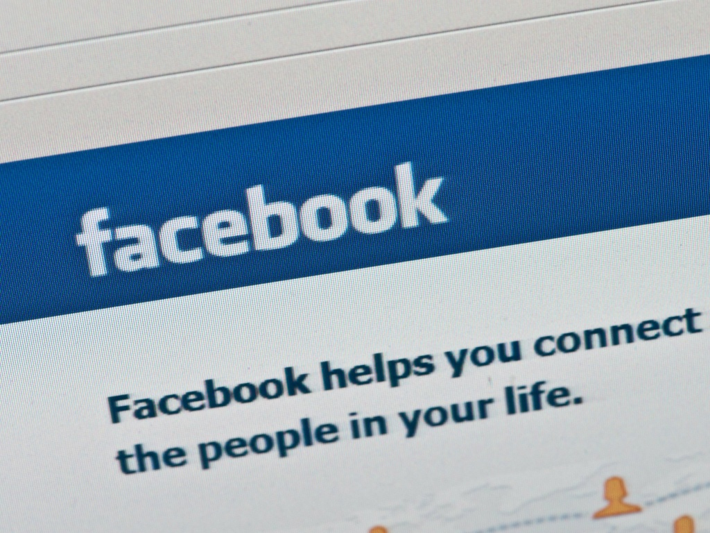 The Facebook login page on a computer screen