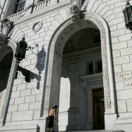 A woman walks into the State of California Earl Warren building January 22, 2007 in San Francisco, California.