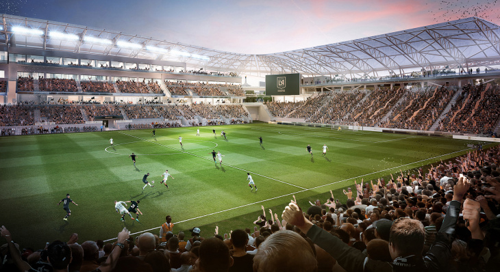 A rendering of the Banc of California Stadium under construction at Exposition Park, and expected to open in 2018. The stadium will house the Los Angeles Football Club.