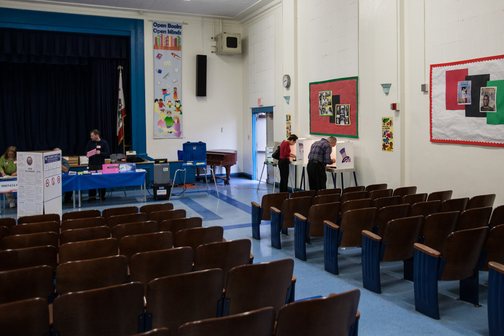 School facilities are used for all kinds of community events - not just as voting booths, as this one at Palms Elementary School in Culver City was last March.