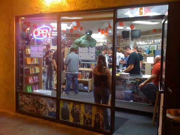 Beach Ball Comics in Anaheim, which was robbed overnight Tuesday, Jan. 29, 2013. (This photo is from their reopening, posted Feb. 7, 2010.)