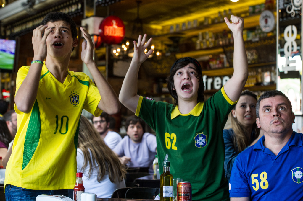 File: Brazilian football fans react as they watch the London 2012 Olympic men's soccer final match between Brazil and Mexico in Sao Paulo, Brazil on Aug. 11, 2012.