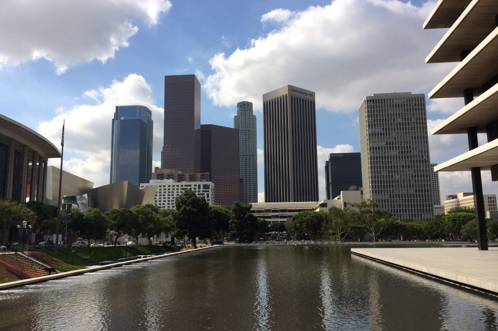 The Reflecting Pool surrounds Los Angeles Department of Water and Power's headquarters in Downtown Los Angeles. The agency says it has enough water to meet demand despite three more years of drought, and no longer needs to continue state-mandated water conservation.