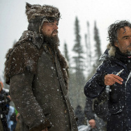 "Leonardo DiCaprio, left, with director Alejandro Gonzalez Iñárritu on the set of ""The Revenant."""