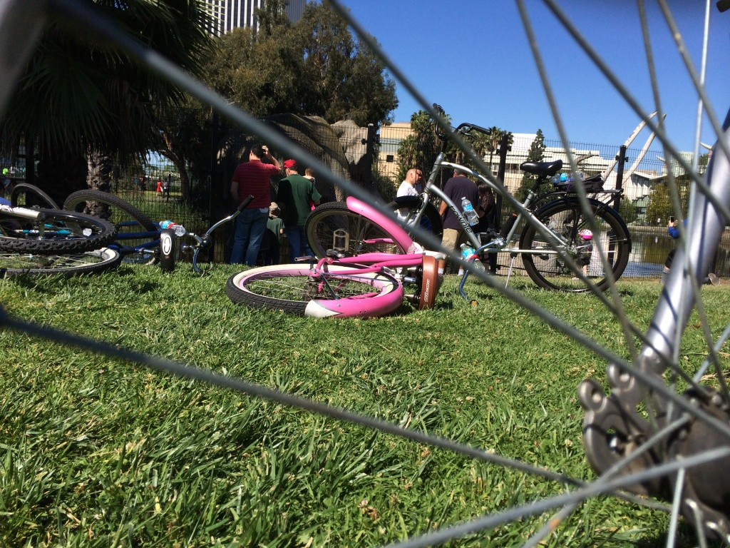 Bicyclists visit the La Brea Tar Pits, a stop along the CicLAvia route that closed a six-mile stretch of Wilshire Boulevard to car traffic on Sunday.