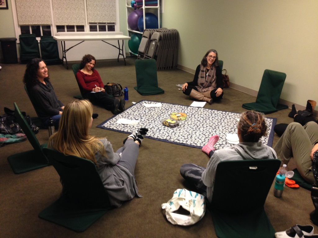 Therapist Elaine Barrington (top right) leads the
