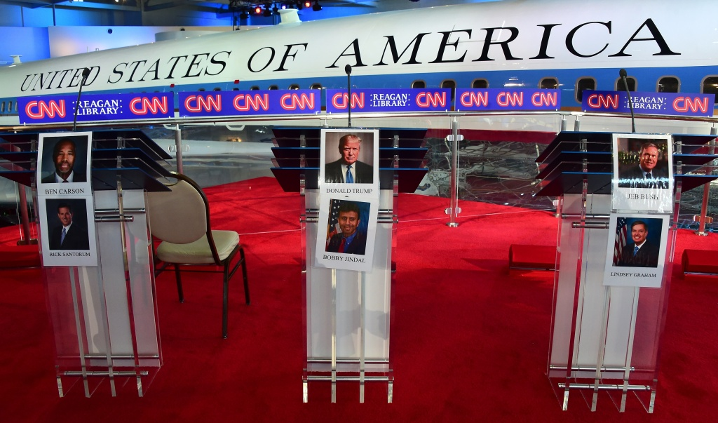 Portraits of candidates are placed on the podium in front Air Force One that flew President Reagan, ahead of today's Republican Presidential Debate at the Ronald Reagan Presidential Library in Simi Valley, California on September 16, 2015