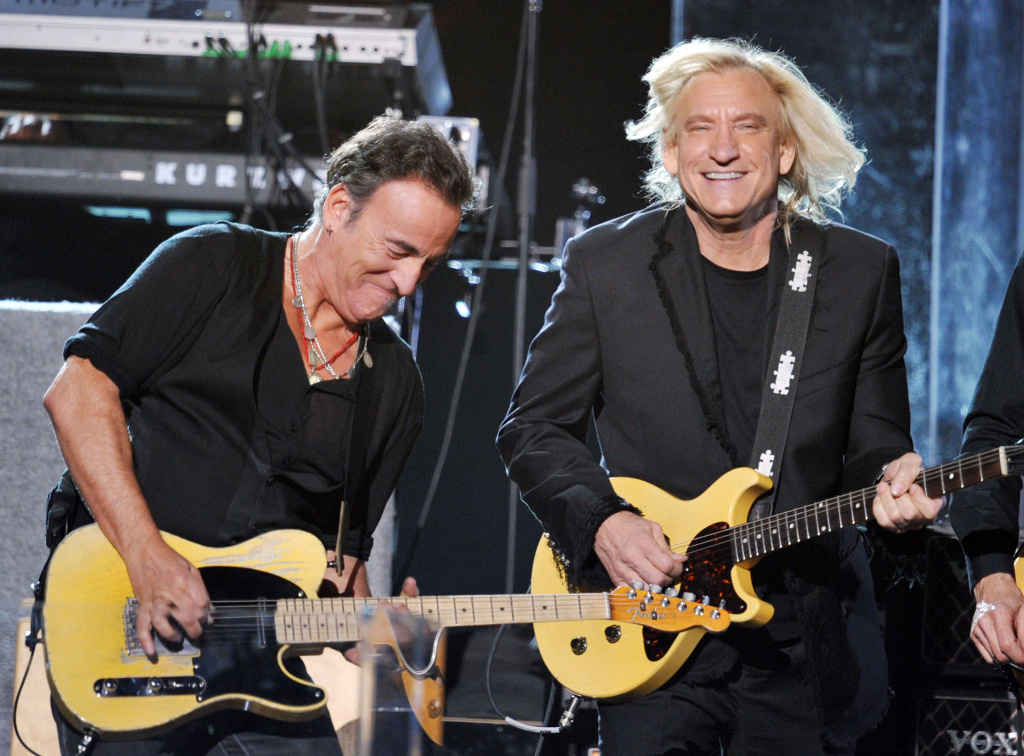 Bruce Springsteen (L) and Joe Walsh (R) perform onstage at the 54th Annual Grammy Awards held at Staples Center on February 12, 2012, in L.A.