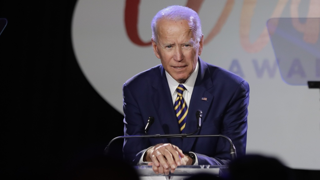 Former Vice President Joe Biden speaks at the Biden Courage Awards, an event related to combating campus sexual assault, on Tuesday. Activist and former candidate Lucy Flores says Biden touched her in 2014, in an encounter that