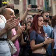 People clap after walking along Las Ramblas after a minute's silence following yesterday's terrorist attack, on August 18, 2017 in Barcelona, Spain.