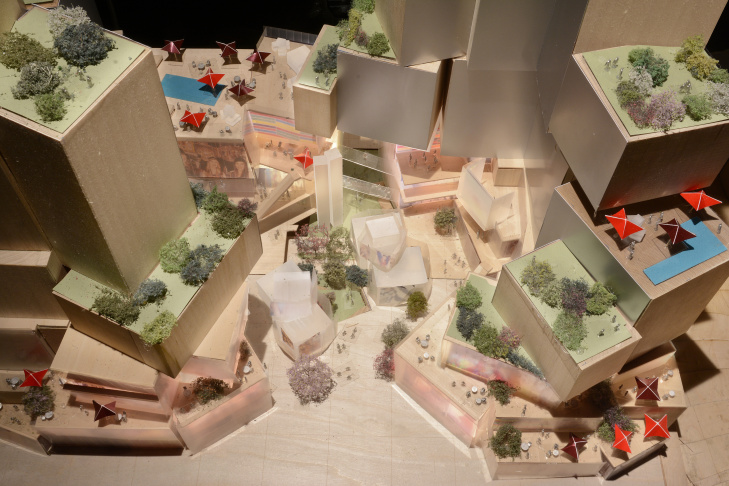 Gehry's design is for a three-acre development across the street from the Walt Disney Concert Hall. It will include a hotel, residential tower, shops and restaurants.