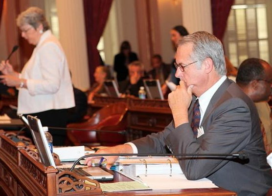 Senator Emmerson working on the Senate Floor during the final weeks of the legislative session.