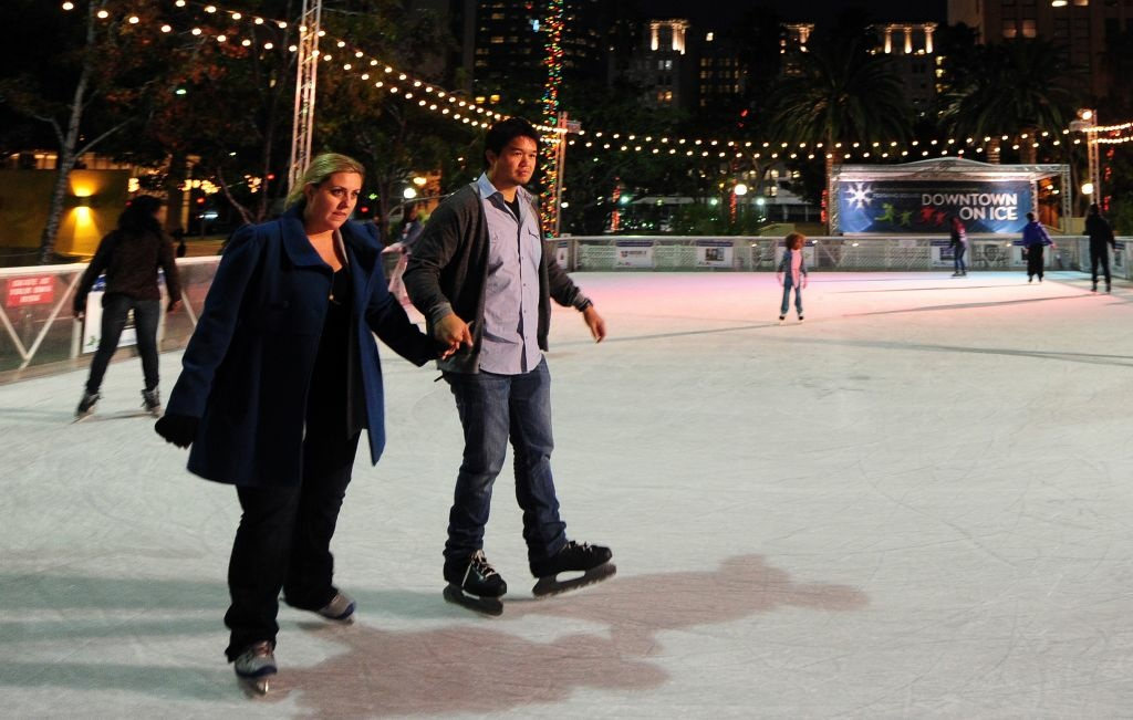 Skaters take to the ice at an outdoor rink beneath office towers in downtown Los Angeles, on November 21, 2011. Marking its fourteenth year, Downtown on Ice at Pershing Square gives locals more used to the beaches of southern California the experience of ice-skating beneath the city's downtown office towers.
