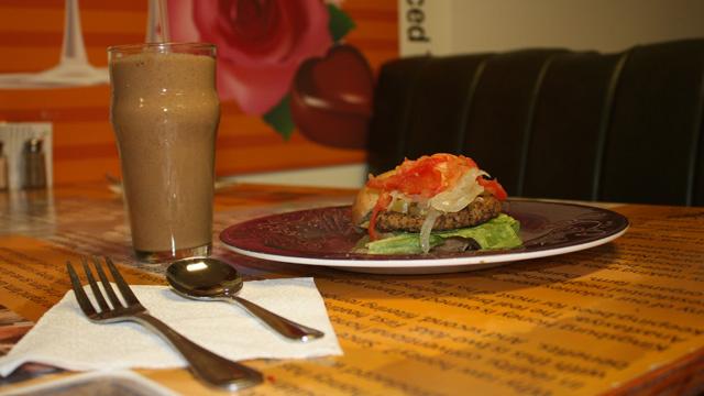 A Valley Shake and black bean burger.