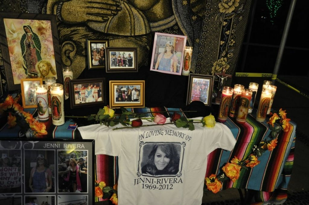 A shrine to the late singer Jenni Rivera in the Plaza Mexico shopping center in Lynwood, Calif.