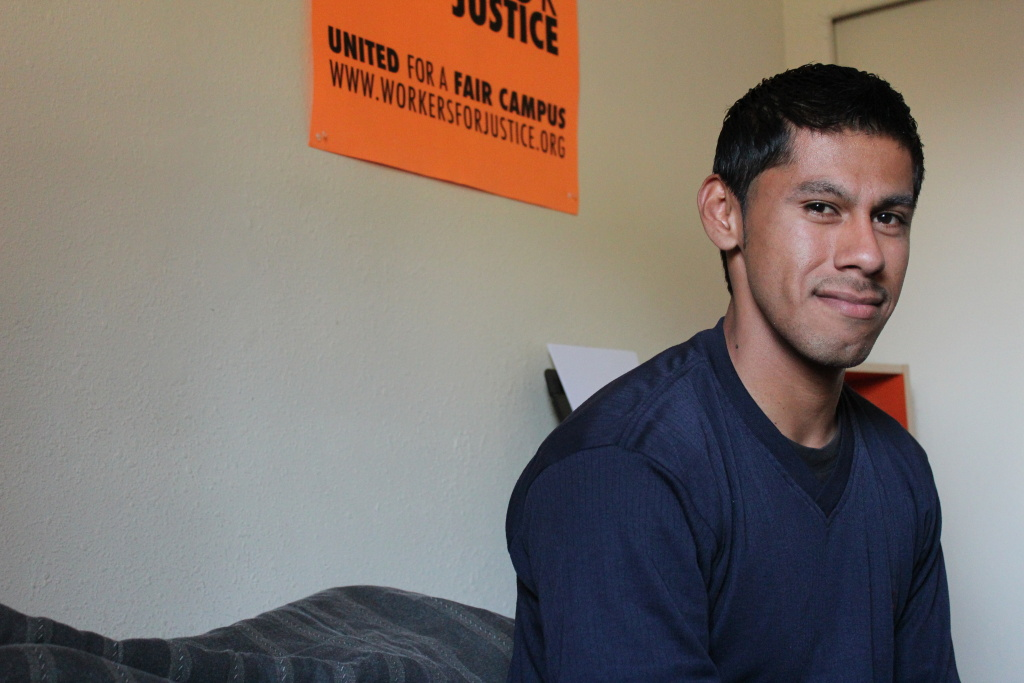 Twenty-five year-old Christian Torres worked at Pomona College for seven years before he was fired. He's been actively trying to form a union of dining hall workers since 2010.