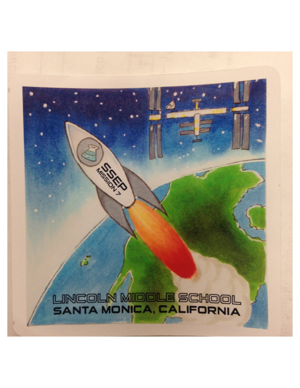One of the winning mission patch designs created by Alisa Boardman, a student at Lincoln Middle School in Santa Monica.