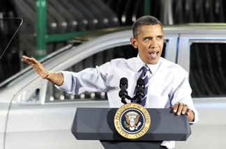 U.S. President Barack Obama delivers a speech at the Chrysler Jefferson North Assembly Plant July 30, 2010 in Detroit, Michigan.