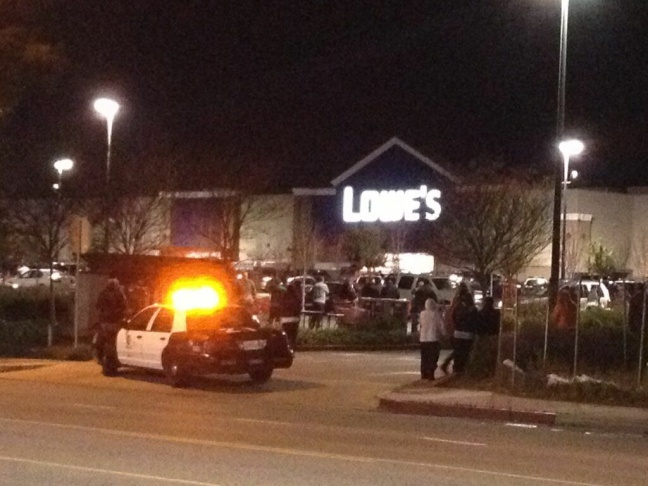 The scene of outside of the Lowe's in Northridge off Nordhoff Stree, where a man matching Christopher Dorner's description may have been spotted