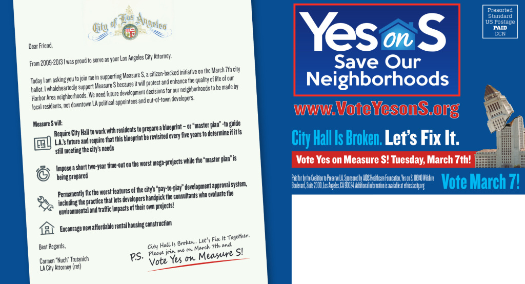 The LA City Attorney's Office has told Measure S campaigners to stop using a copy of the city seal on its mailers.