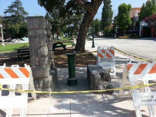 A historic Monrovia wishing well was smashed into by a BMW late Tuesday night, Aug. 7, 2013.