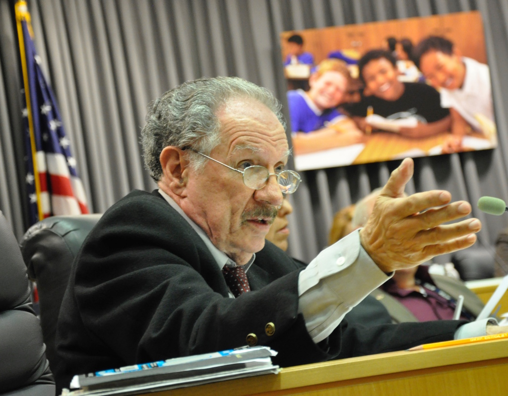 Los Angeles Unified school board member George McKenna speaks during a board meeting on Aug. 22, 2017.