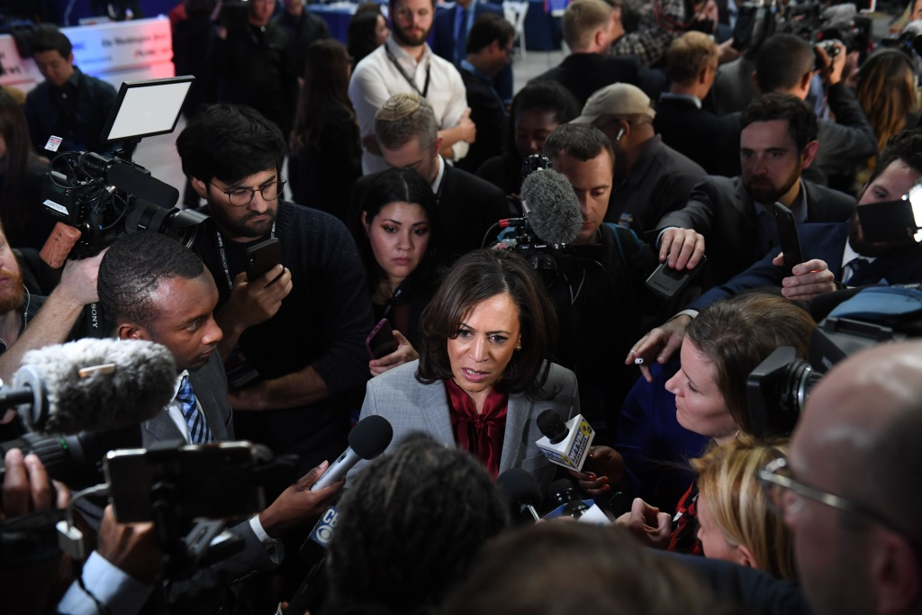 Democratic presidential hopeful California Senator Kamala Harris speaks to the press in the Spin Room after participating in the fifth Democratic primary debate of the 2020 presidential campaign season in Atlanta, Georgia on November 20, 2019.