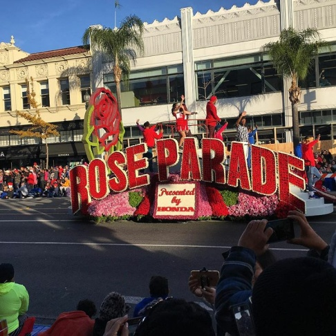 Hundreds of thousands of people lined the street to watch 39 floats decked out with countless flowers, along with show horses, marching bands and celebrities. Millions more watched on TV.