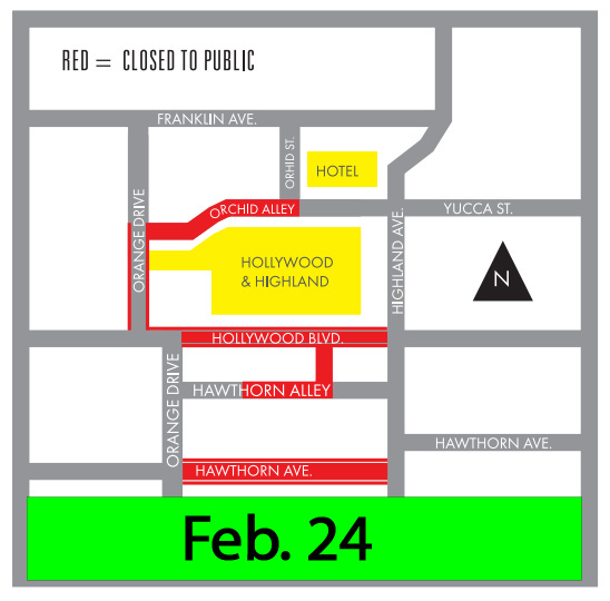 Areas marked in red will be shut down from 12:01 a.m. Feb. 24 to 6 a.m. February 27.