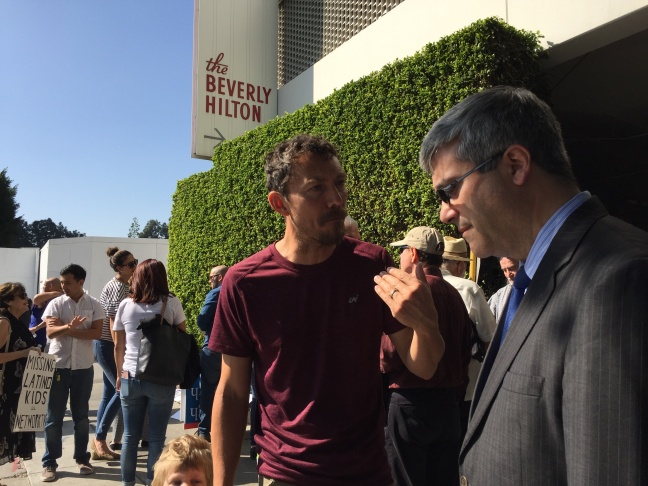 About 50 protesters called for more representation for Latinos in Hollywood outside the Beverly Hilton Hotel, where the Academy Awards luncheon was being held.