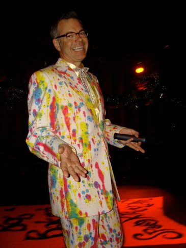 Charles Phoenix wearing a splatter-painted suit.