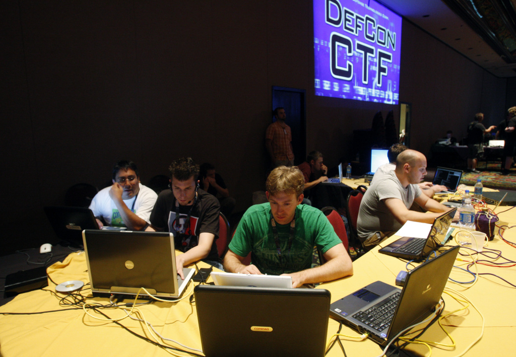 In this July 30, 2010 photo, Stephan Vanderbild of Germany participates in a capture the flag competition during the DefCon hacker conference in Las Vegas.