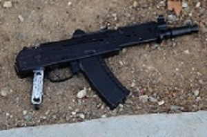 Long Beach police released this photo of what they said was the pellet-gun replica of an Uzi-style assault weapon a man was carrying before being fatally shot by officers on May 7, 2016.