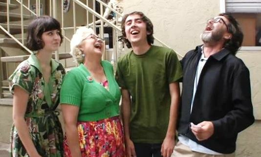 Daughter Lulu, wife Mimi Pond, son Woodrow, and Wayne White in a screengrab from the new documentary about Wayne,